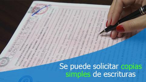 Usuario puede solicitar al notario copias simples de la escritura