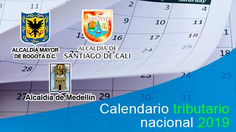 Calendario tributario nacional y de principales ciudades 2019