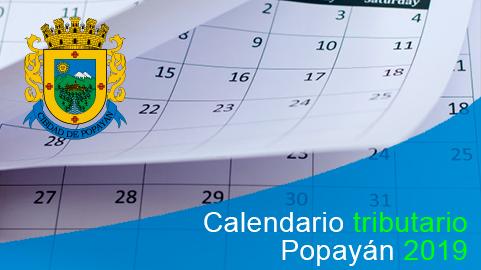 Calendario tributario de Popayán 2019