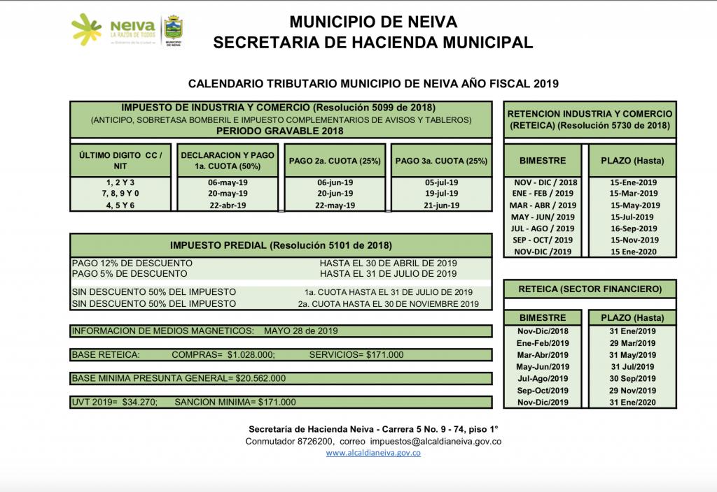 Calendario De Hacienda 2020.Calendario Tributario Neiva 2019 Con Toda Propiedad