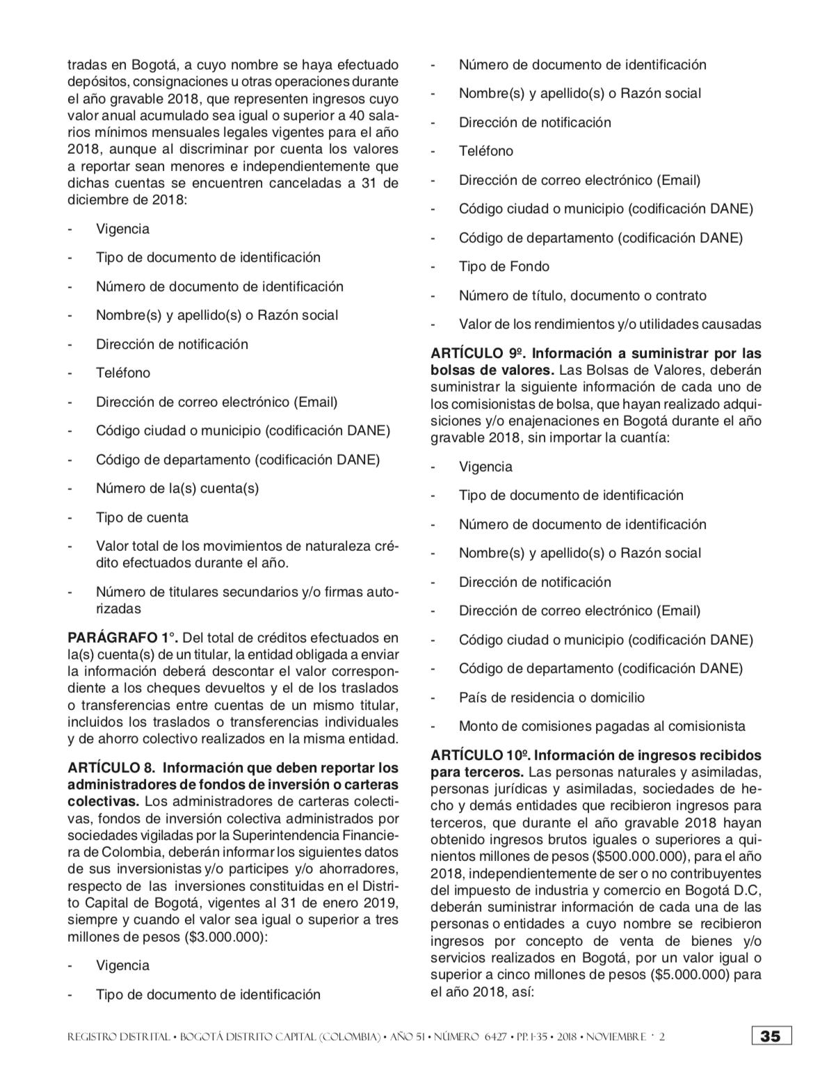 Calendario Tributario Bogotá 2020