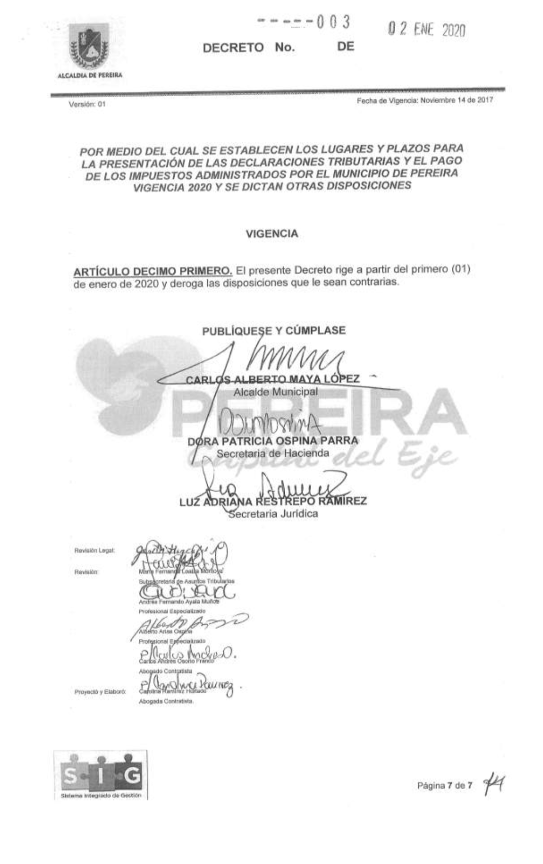 Calendario tributario Pereira 2020