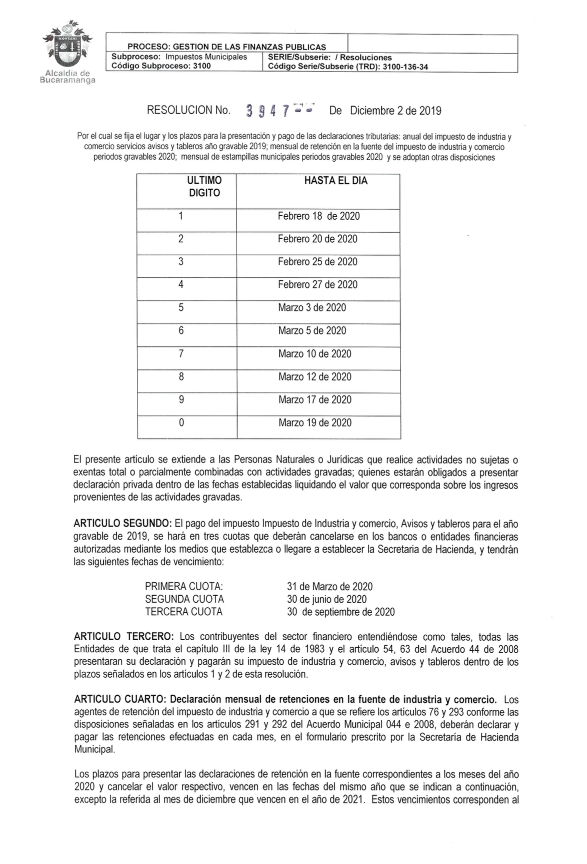 Descargar Impuesto Predial, Impuesto Industria y Comercio Bucaramanga 2020